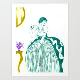 Vintage Fashionable Art Deco Woman with Jewelry Art Print