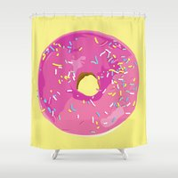 donut Shower Curtains featuring donut by Britt Mansouri