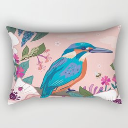 Kingfisher, White Poppies and Buddleia Rectangular Pillow