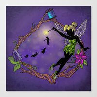 tinker bell Canvas Prints featuring Sihouette Tinker Bell by Katie Simpson a.k.a. Redhead-K