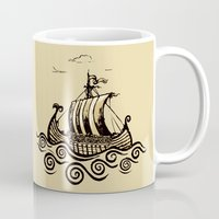 rowing Mugs featuring Viking ship 2 by mangulica