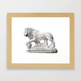 Marble Lion Framed Art Print