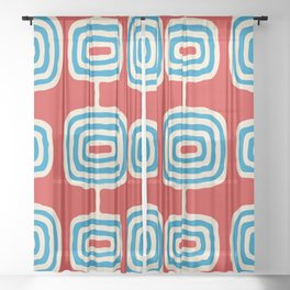 Mid Century Modern Atomic Rings Pattern 260 Cyan Red and Beige Sheer Curtain