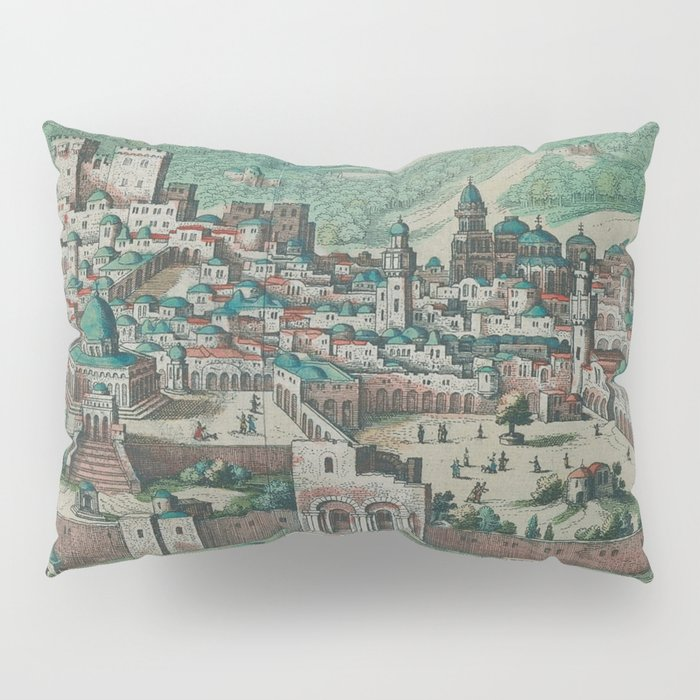 Vintage Map of Jerusalem, Nazareth and Rame Israel Pillow Sham