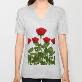 ORIGINAL GARDEN DESIGN OF RED ROSES ON WHITE Unisex V-Neck