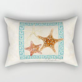White Finger, Knobby, Orange Cushion Starfish Modern Ocean Shell Beach Striped Rectangular Pillow