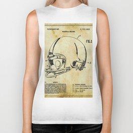Football Helmet Patent Blueprint Drawing Tan Biker Tank