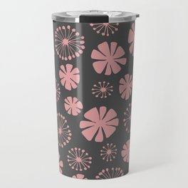 Floral Pattern - pale pink, charcoal gray Travel Mug
