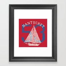 Nantucket Beaches Sailboat Framed Art Print