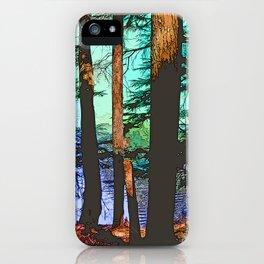 MOUNTAIN LAKE THROUGH HEMLOCK TREES iPhone Case