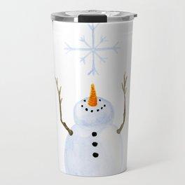 Snowman Catching A Snowflake Travel Mug