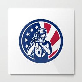 American Cameraman USA Flag Icon Metal Print