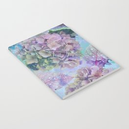 Watercolor hydrangeas and leaves Notebook