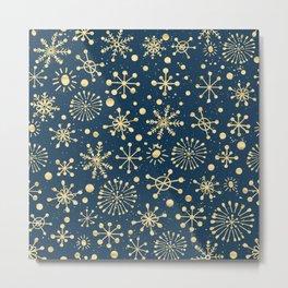 Hand Drawn Snowflakes Golden Metal Print