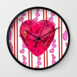 PINK JEWELED PINK VALENTINE HEARTS  DESIGN Wall Clock
