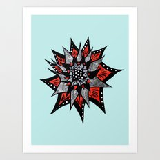Spiked Abstract Flower In Red And Black Art Print