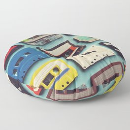 Cassette tape aerial view vintage style collection Floor Pillow