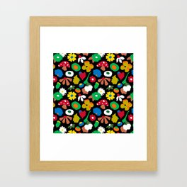 Mod Mushroom Floral Framed Art Print