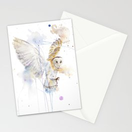 "Watercolor Painting of Picture ""White Owl"" Stationery Cards"