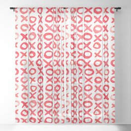 Xoxo valentine's day - red Sheer Curtain