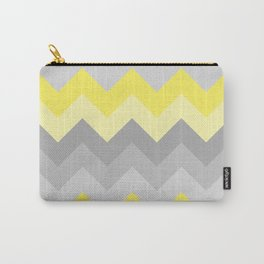 Yellow Grey Gray Ombre Chevron Carry-All Pouch