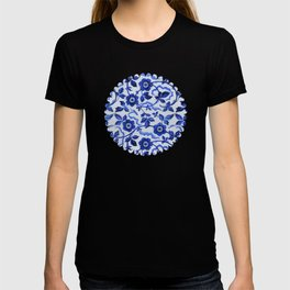 Azulejos blue floral pattern T-shirt
