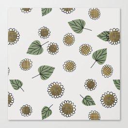 Seamless Sunflower Pattern Canvas Print