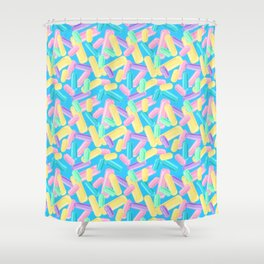 Pastel Jimmy Candy Pattern on Blue Shower Curtain