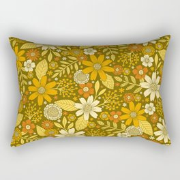 1970s Retro Flowers Pattern in Yellow, Orange & Olive Green Rectangular Pillow