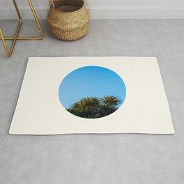 Mid Century Modern Round Circle Photo Graphic Design Minimal Tropical Palm Tree Against Blue Sky Rug