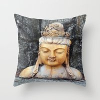 asian Throw Pillows featuring ASIAN GODDESS by JANUARY FROST