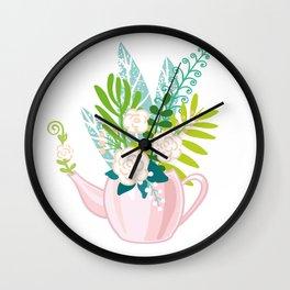 floral teapot Wall Clock