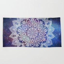 Boho Mandala - White on Galaxy Beach Towel