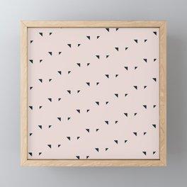 Pattern Triangles Noir/Rose Framed Mini Art Print