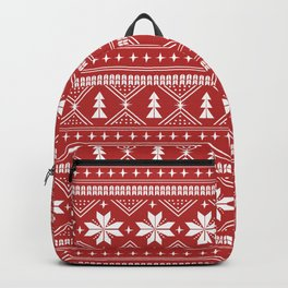 Fair Isle christmas pattern snowflakes camping winter trees christmas tree minimal Backpack