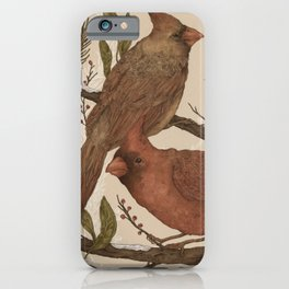 Wintery Cardinals iPhone Case