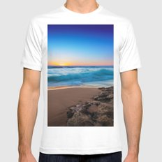 A Day At The Beach MEDIUM White Mens Fitted Tee