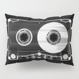 Black and White Retro 80's Cassette Vintage Eighties Technology Art Print Wall Decor from 1980's Pillow Sham