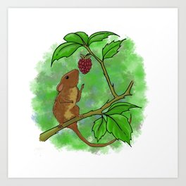 Cute Mouse with Raspberry Art Print
