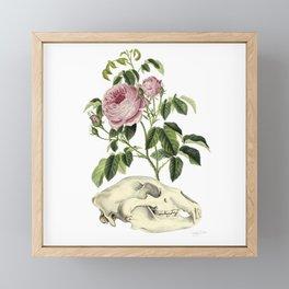 Bear Skull and Roses Framed Mini Art Print