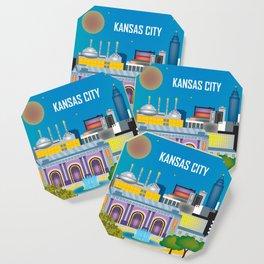 Kansas City, Missouri - Skyline Illustration by Loose Petals Coaster