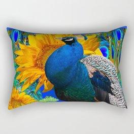 BLUE PEACOCK & GOLDEN SUNFLOWERS BLUE ART Rectangular Pillow