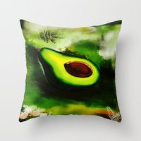 avocado Throw Pillows featuring Avocado by Marven RELOADED