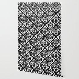 Scroll Damask Big Pattern White on Black Wallpaper