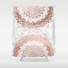 Modern chic rose gold floral mandala illustration on trendy white marble Shower Curtain