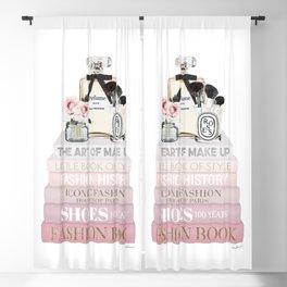 Blush Pink fashion books with perfume & roses by Amanda Greenwood Blackout Curtain