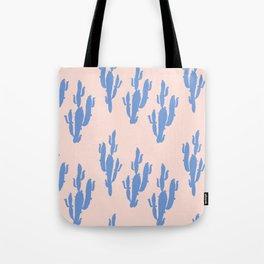Cactus in Blue pattern Tote Bag