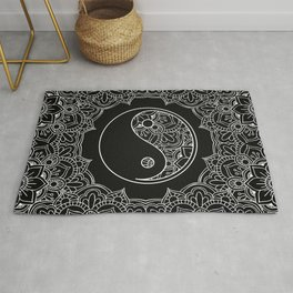 Yin yang symbol in Black and white lace ornament Rug