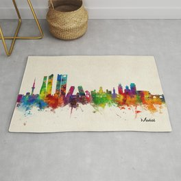 Madrid Skyline Cityscape Watercolor Rug