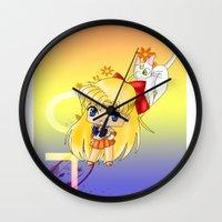 sailor venus Wall Clocks featuring Sailor Venus by artwaste